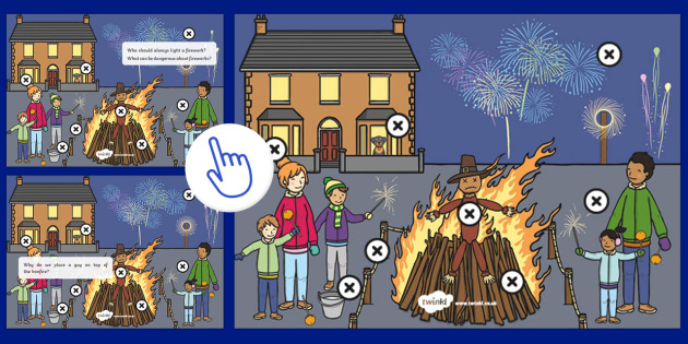 Bonfire Night Safety Questions Picture Hotspots, Twinkl Go, twinkl go, TwinklGo, twinklgo