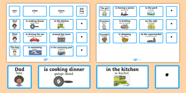 Everyday Sentence Building Cards Polish