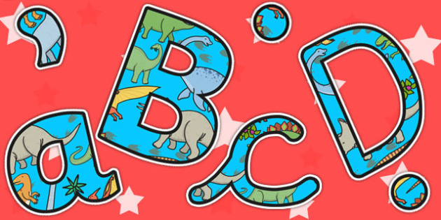 Dinosaur Themed A4 Display Lettering - dinosaurs, letters, display