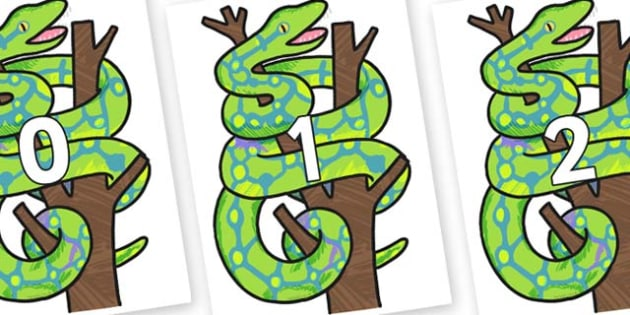 Numbers 0-31 on Boa Constrictor to Support Teaching on The Bad Tempered Ladybird - 0-31, foundation stage numeracy, Number recognition, Number flashcards, counting, number frieze, Display numbers, number posters