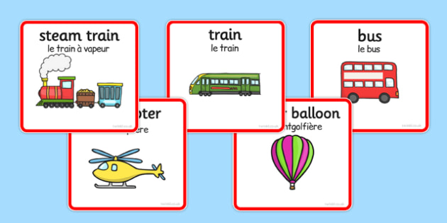 Transport Sorting Cards French Translation - vehicles, cars, lorries, helicopter, vocabulary, van, lorry, France, French, MFL, Francais, bilingual