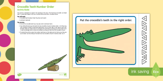 Crocodile Teeth Number Order Busy Bag Resource Pack for Parents to Support Teaching on The Enormous Crocodile