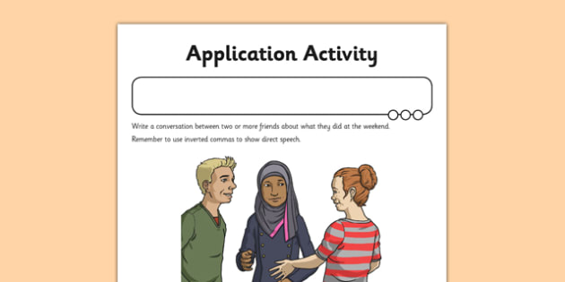 Inverted Commas Application Activity Sheet - GPS, direct speech, speech marks, dialogue, worksheet