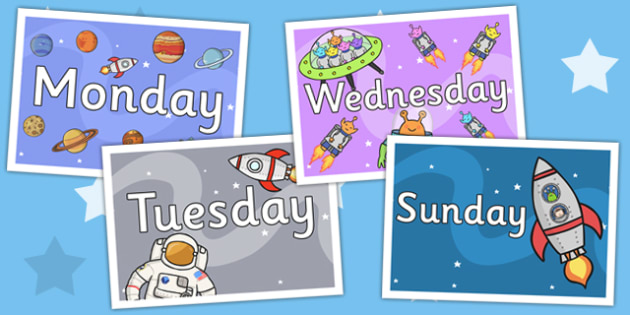 Space Themed Days of the Week Posters - planets, space display