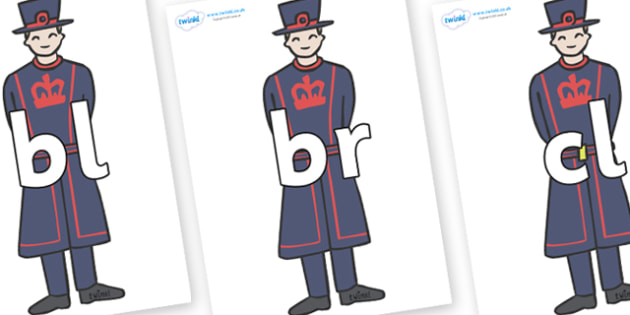 Initial Letter Blends on Beefeaters - Initial Letters, initial letter, letter blend, letter blends, consonant, consonants, digraph, trigraph, literacy, alphabet, letters, foundation stage literacy