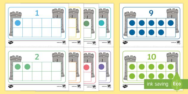 Castle Themed Tens Frames - castle, themed, tens frames, tens, frames, visual aid