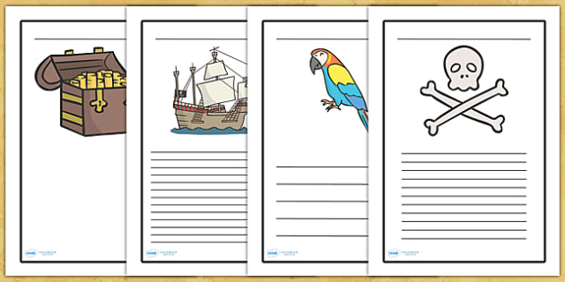 Pirate Writing Frames - writing frame, frame, writing, writing aid, pirate, pirates, pirate writing frames, pirate themed writing frames, trasure, parrot, writing template, template, literacy