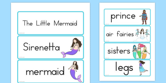 The Little Mermaid Word Cards - australia, little mermaid, word cards
