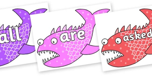 Tricky Words on Fish to Support Teaching on Sharing a Shell - Tricky words, DfES Letters and Sounds, Letters and sounds, display, words