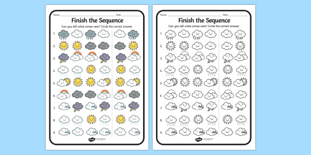 Finish the Sequence Weather Worksheet - weather, sequence, sheet