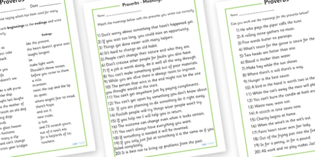 Proverb Worksheet - proverb worksheet, proverb, English, grammar, worksheet, tradition, saying, proverbs, wise, wise saying, many years, activity