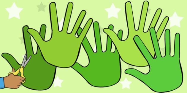 A4 Green Handprints - green, handprint, hands, cut out, a4, cut