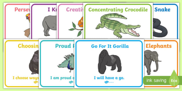 Animal Themed Characteristics of Effective Learning Display Posters