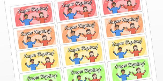 Super Signing Multicoloured Stickers - super signing, super signing stickers, super signing sticker template, sign language, sign language stickers, sen