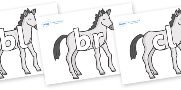 Initial Letter Blends on Ponies - Initial Letters, initial letter, letter blend, letter blends, consonant, consonants, digraph, trigraph, literacy, alphabet, letters, foundation stage literacy