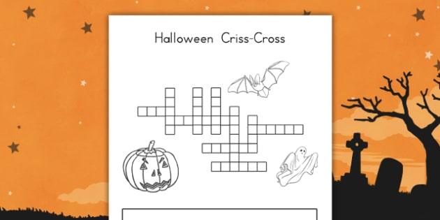Halloween Criss Cross - usa, halloween, criss cross, crossword, hallowe'en