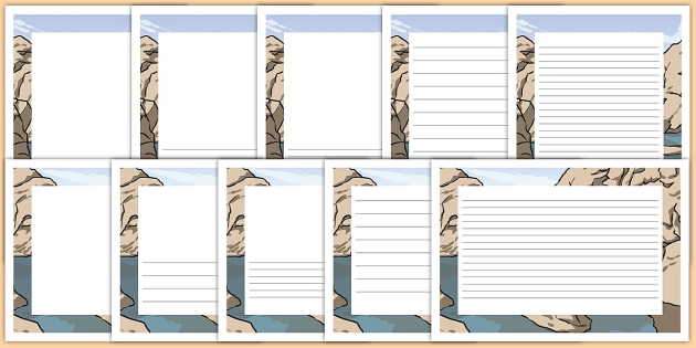 Rock Pool Landscape Page Borders- Landscape Page Borders - Page border, border, writing template, writing aid, writing frame, a4 border, template, templates, landscape