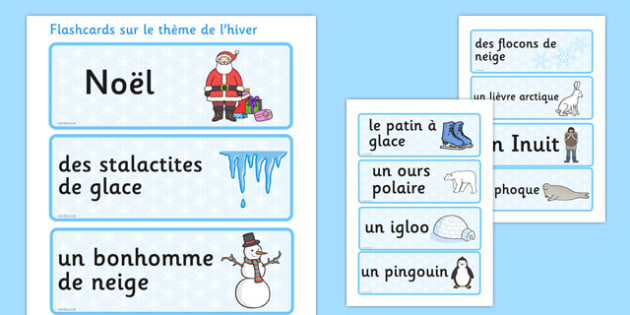Flashcards sur le thème de l'hiver French - french, winter, topic, word cards, word, card