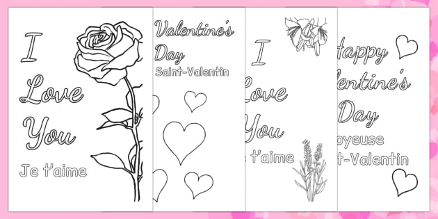 Valentine's Day Card Colouring Templates French Translation - french, Valentine's Day, Valentine, love, Saint Valentine, heart, kiss, colouring, fine motor skills, poster, worksheet, vines, A4, display,  cupid, gift, roses, card, flowers, date, lette