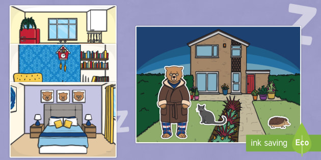 Peace at Last Story Cut Outs - Peace at Last, resources,  Jill Murphy, Large family, Mr Bear, Mrs Bear, Baby Bear, sleep, story, story book, story book resources, story sequencing, story resources, cut out