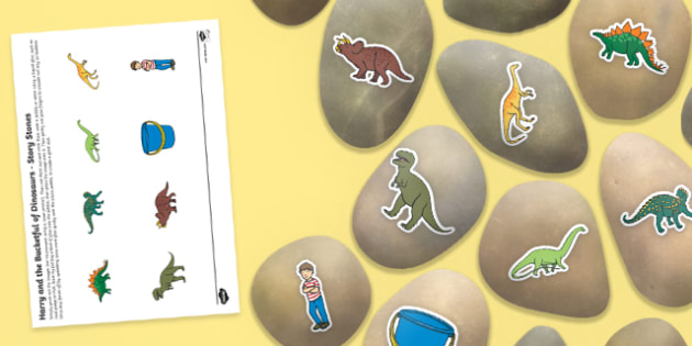 Story Stone Image Cut Outs to Support Teaching on Harry and the Bucketful of Dinosaurs - harry, bucketful, dinosaurs, story stone