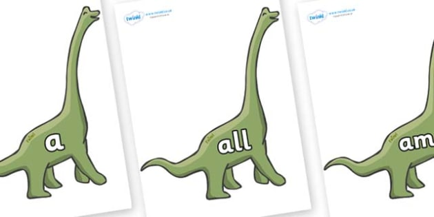 Foundation Stage 2 Keywords on Brachiosaurus - FS2, CLL, keywords, Communication language and literacy,  Display, Key words, high frequency words, foundation stage literacy, DfES Letters and Sounds, Letters and Sounds, spelling