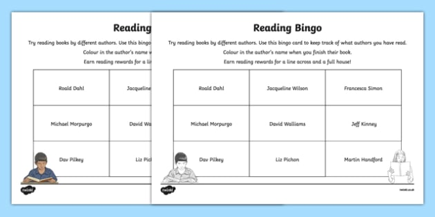 Authors, Reading Bingo Activity Sheet-Irish, worksheet