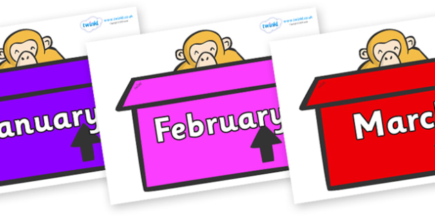 Months of the Year on Monkeys (Box) to Support Teaching on Dear Zoo - Months of the Year, Months poster, Months display, display, poster, frieze, Months, month, January, February, March, April, May, June, July, August, September
