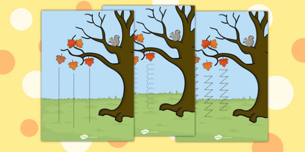Autumn Tree Pencil Control Worksheet - autumn tree, control