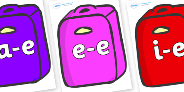 Modifying E Letters on Suitcases - Modifying E, letters, modify, Phase 5, Phase five, alternative spellings for phonemes, DfES letters and Sounds