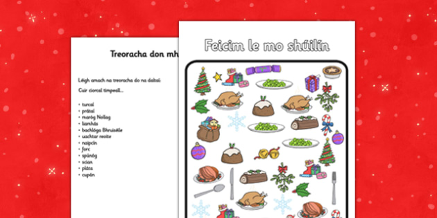 Feicim le mo shúilín - roi, irish, gaeilge, christmas, dinner, I spy, activity, worksheet
