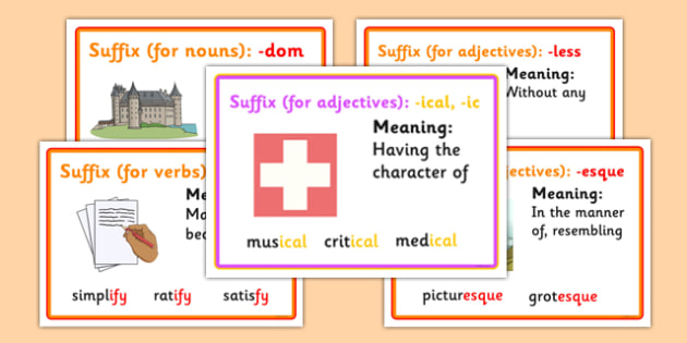 Suffix Posters With Definitions - suffix, posters, display, definitions