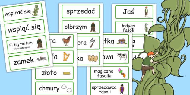 Karty ze slownictwem Jas i magiczna fasola po polsku - bajki , Polish