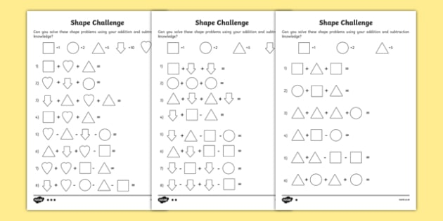 Shape Challenge Differentiated Activity Sheet Pack, worksheet