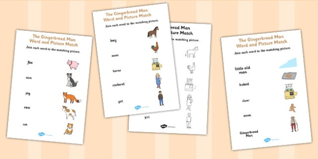 The Gingerbread Man Word and Picture Match - gingerbread man