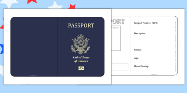 States Of America Passport Template  Passport Template