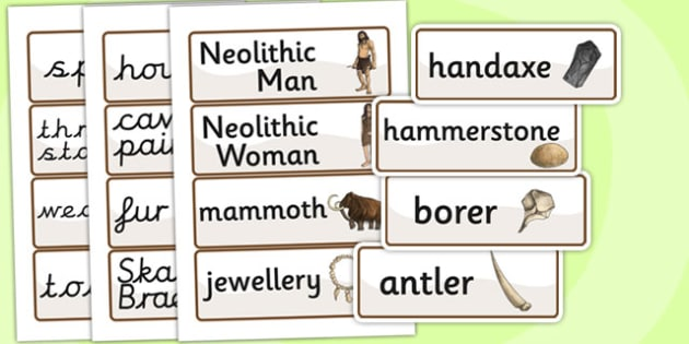 The Stone Age Word Cards - stone age, keyword cards, visual aids