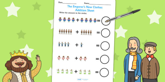 The Emperors New Clothes Up to 10 Addition Sheet - add, maths