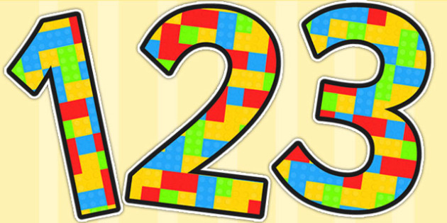 Building Brick Themed A4 Display Numbers - number, display, toys, building bricks
