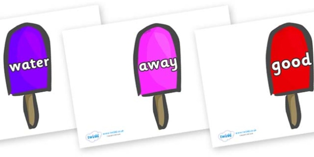 Next 200 Common Words on Ice Lollies - Next 200 Common Words on  - DfES Letters and Sounds, Letters and Sounds, Letters and sounds words, Common words, 200 common words