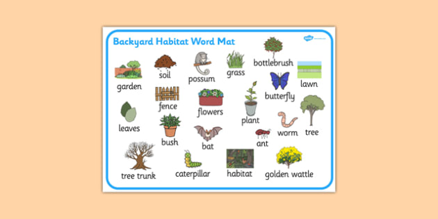 Backyard Habitat Word Mat - australia, Science, Year 1, Habitats, Australian Curriculum, Backyard, Living, Living Adventure, Environment, Living Things, Animals, Plants, Word Mat