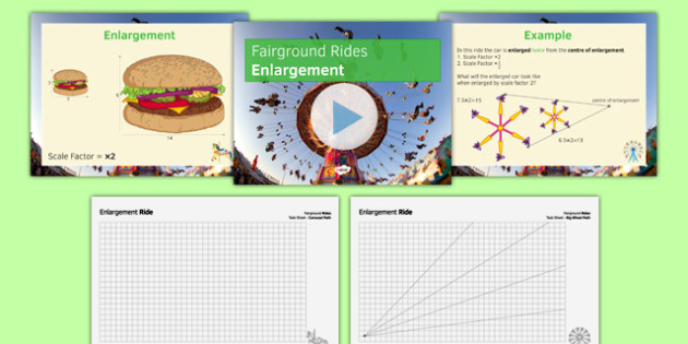 Fairground Rides Enlargement SEN MLD - maths, KS3, SEN, MLD, geometry, transformations, enlargement, translation, reflection, project,