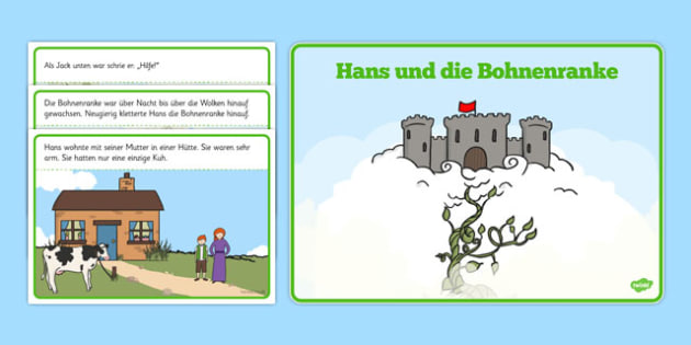 Hans und die Bohnenranke Jack and the Beanstalk Story German - german, Jack and the Beanstalk, traditional tales, tale, fairy tale, Jack, giant, beanstalk, beans, golden egg, axe, castle, sky