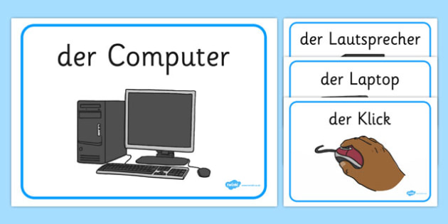 Computer Area Word Labels German - german, Computer Area,  ICT, Computer, printer, mouse, keyboard, click, CD, Internet