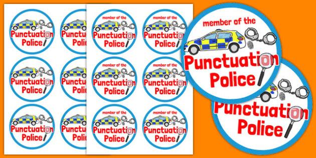Punctuation Police Badges - punctuation police, badges, punctuation, police