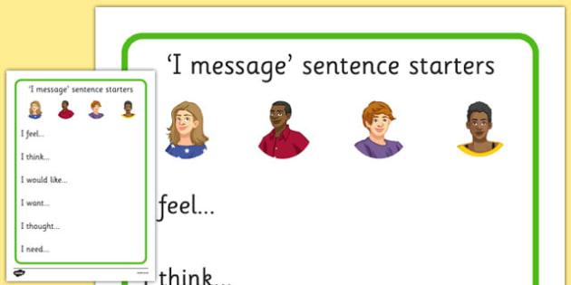 KS3 I Message Sentence Starters - relationships, SEN, behaviour, positive, negative, activity, secondary, support, independent