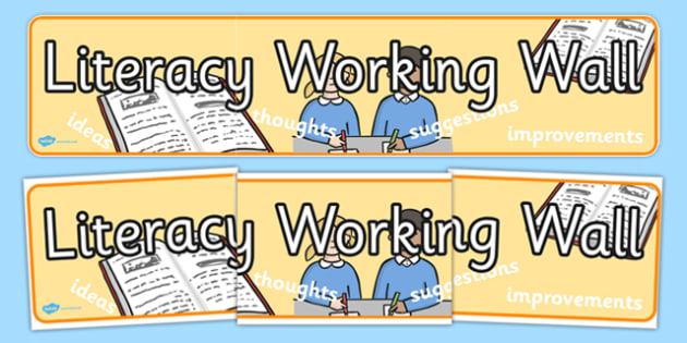 Literacy Working Wall Display Banner - literacy, working, wall, working wall, words, display, banner, ideas, thoughts, signs, poster