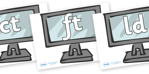 Final Letter Blends on Monitors - Final Letters, final letter, letter blend, letter blends, consonant, consonants, digraph, trigraph, literacy, alphabet, letters, foundation stage literacy