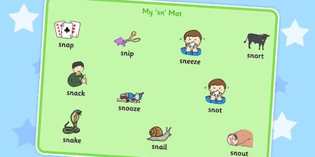 SN Word Mat - sn sound, word mat, word, mat, sound, sen, sn
