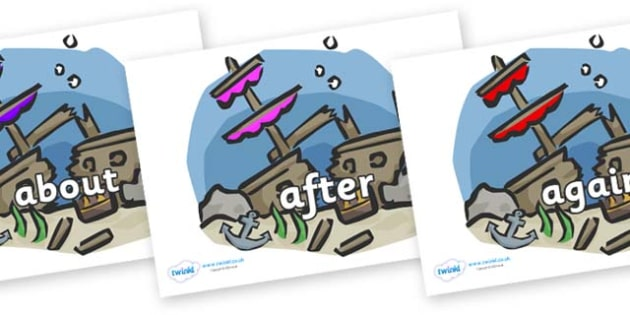 KS1 Keywords on Ship Wrecks - KS1, CLL, Communication language and literacy, Display, Key words, high frequency words, foundation stage literacy, DfES Letters and Sounds, Letters and Sounds, spelling